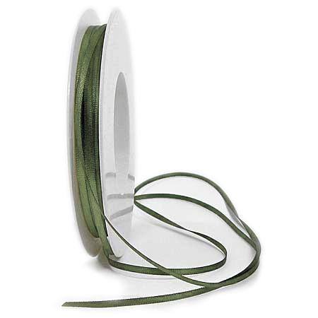 Satinband SINFINITY, olivgrün: 3mm breit / 50m-Rolle, mit feiner Webkante.
