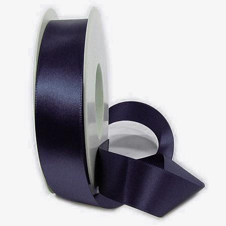 Satinband SINFINITY, nachtblau: 25mm breit / 25m-Rolle, mit feiner Webkante.