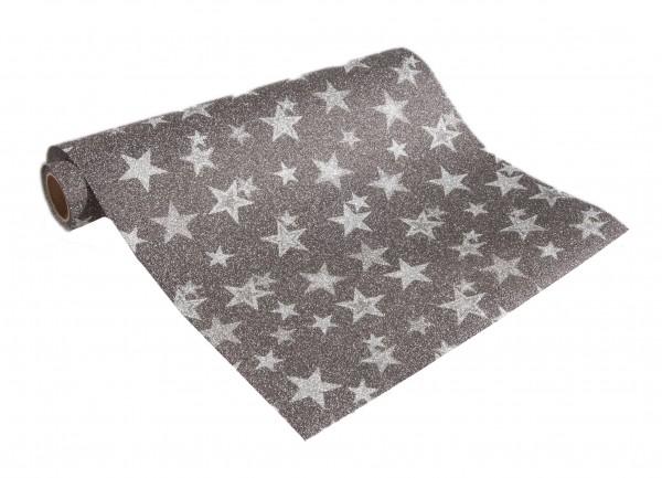 Tischband MEMORY-STARS, anthrazit mit silber-farbigen Sternen: 250mm breit / 5m-Rolle.