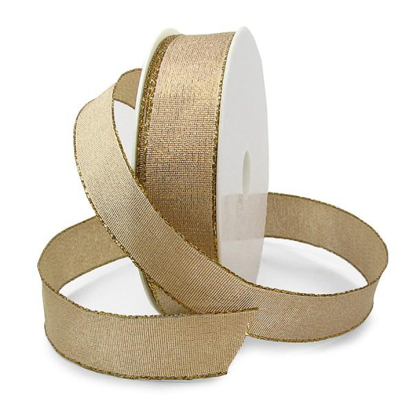 Brokatband, gold: 25mm breit / 25m-Rolle, mit Drahtkante.