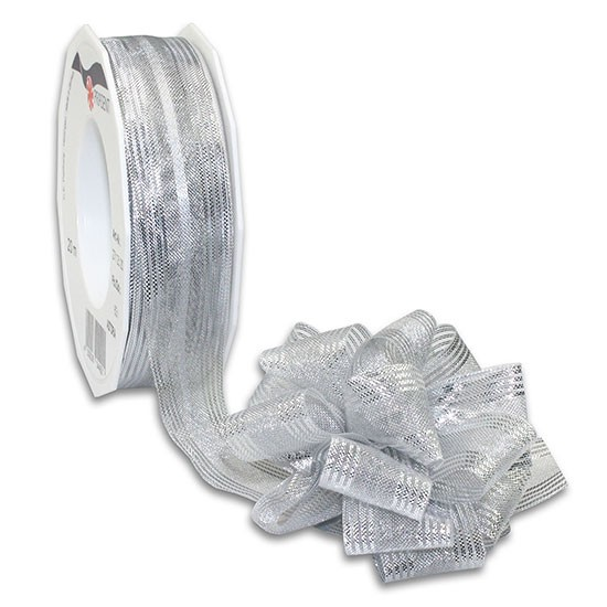 Ziehschleifenband ASTORIA: 25mm breit / 25m-Rolle, silber-metallic