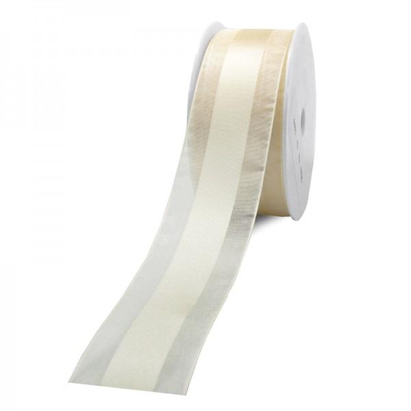 Dekorband-CHARMING, creme: 40mm breit / 25m-Rolle.