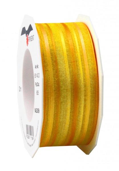 Chiffonband-MALEDIVEN, mehrfarbig-gelb: 40mm breit / 25m-Rolle, mit feiner Webkante