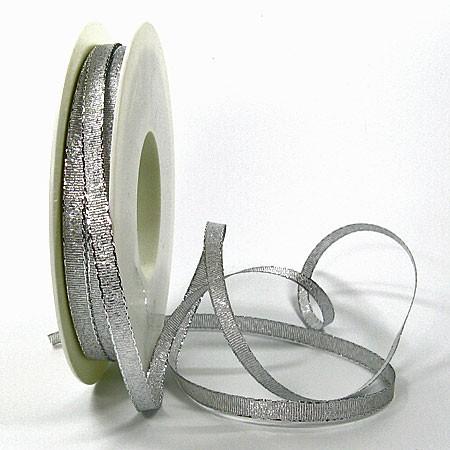 Brokatband-SINFINITY: 6mm breit / 50m-Rolle, silber