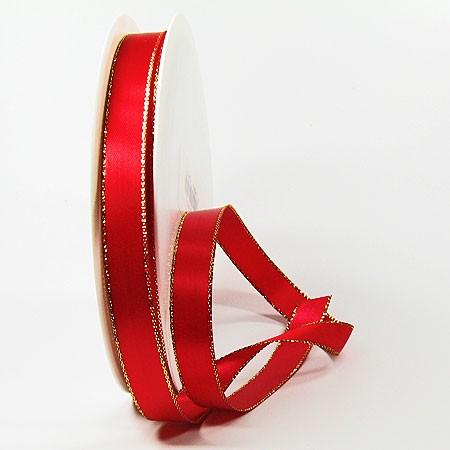 Satinband Rot mit echter Lurex-Goldkante: 15mm breit / 50m-Rolle