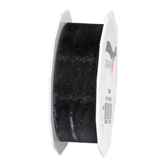 Organzaband-Sheer: 25mm breit / 25m-Rolle, schwarz