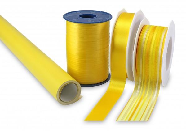 Spar-Set gelb aus Geschenkpapier und Dekorationsband