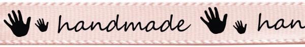 Satinband handmade- creme: 15mm breit / 25m-Rolle
