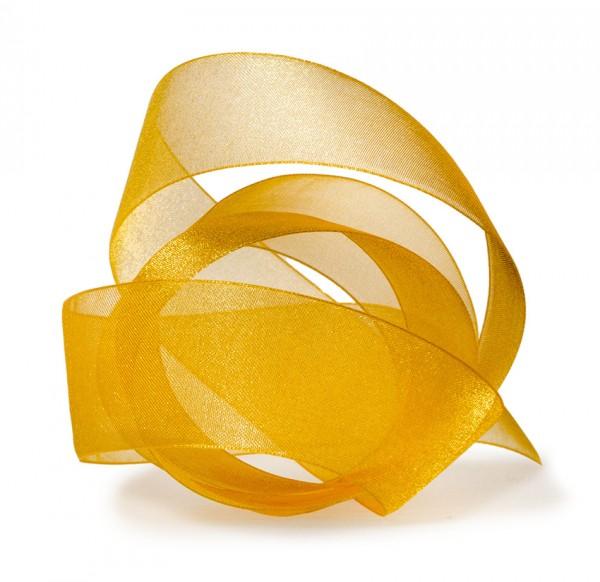 Organzaband-CHIFFON, gelb: 40mm breit / 50m-Rolle, mit feiner Webkante.
