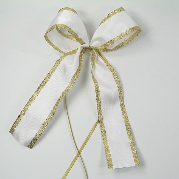 Classic-Schleife, weiss-gold- mit Drahtkante - 2-flüglig