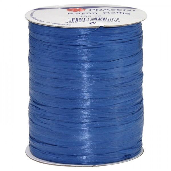 Raffia - RAYON, Bindebast: 10mm breit / 100m-Rolle, royalblau