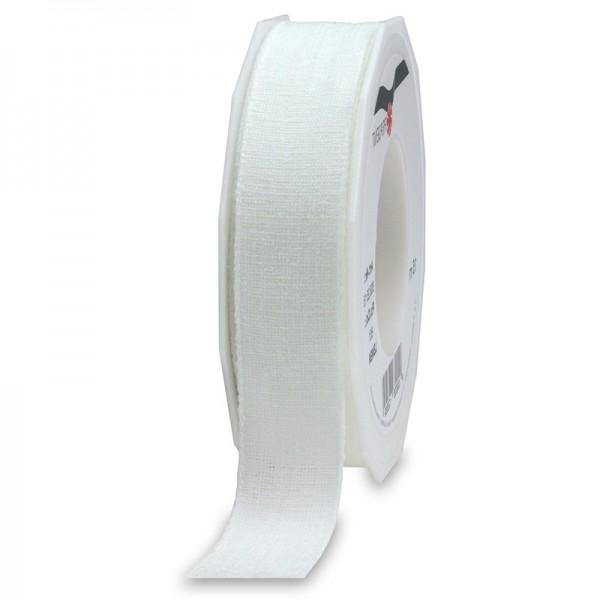 LEINEN, weiss, 25mm breit / 15m-Rolle