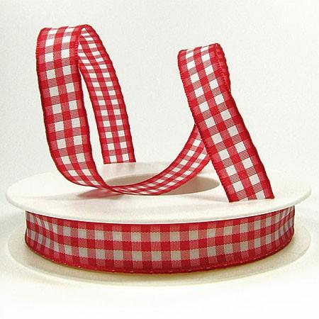 Karoband, rot-weiß: 15mm breit / 20m-Rolle, mit feiner Webkante.