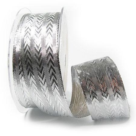 Silberband STYL: 38mm breit / 25m-Rolle, mit Drahtkante