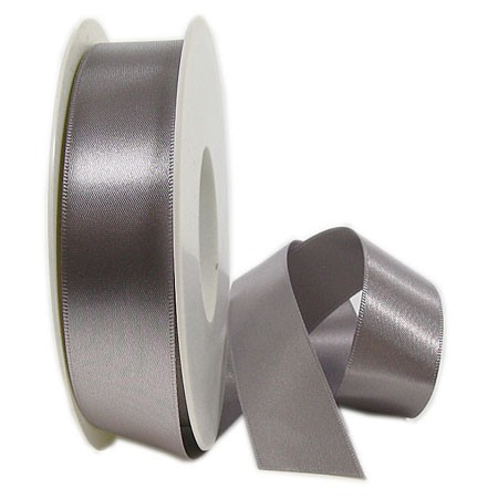 Satinband SINFINITY, silber-grau: 25mm breit / 25m-Rolle, mit feiner Webkante.