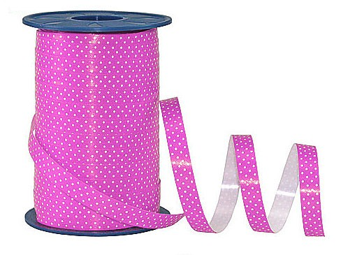 Poly-Pünktchen-Ringelband, pink-weiß - 10mm breit / 200m-Rolle