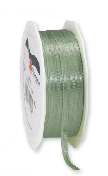 Satinband-PRÄSENT, schilfgrün: 3mm breit / 50m-Rolle, mit feiner Webkante