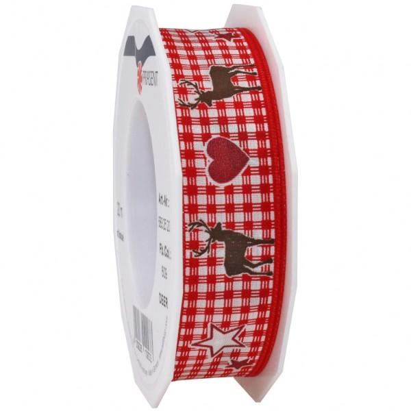 Weihnachtsband-DEER: 25mm/20m-Rolle, mit Drahtkante, rot