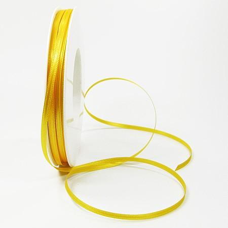Satinband SINFINITY, gelb: 3mm breit / 50m-Rolle, mit feiner Webkante.