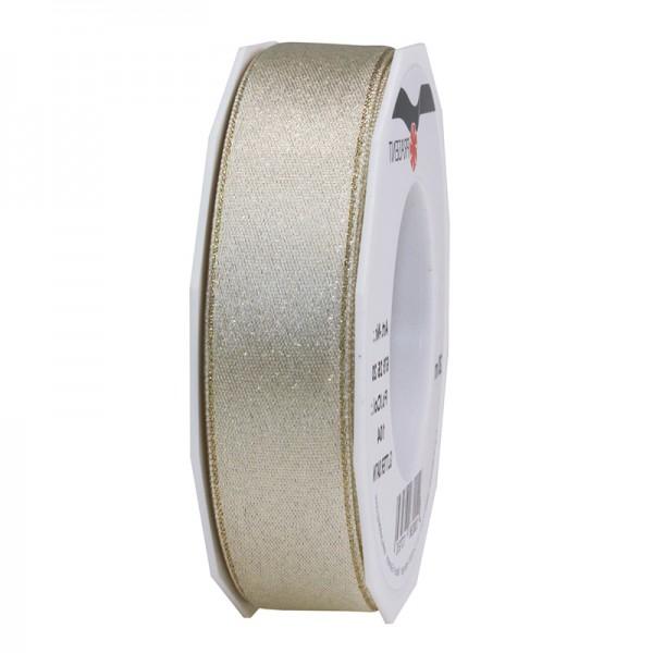 GLITTER-Satinband:25mm breit / 20m-Rolle, creme mit Gold-Glitzer