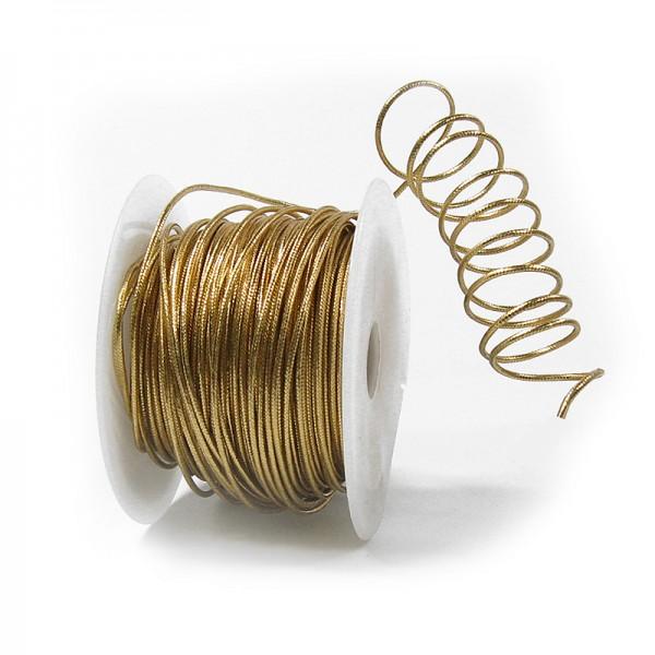 Drahtkordel, gold: 2mm breit / 50m-Rolle