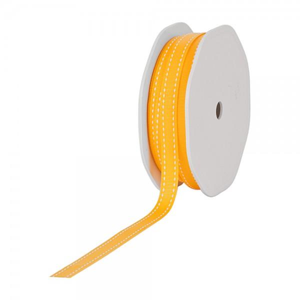 Ripsband-STITCHES, 10mm breit / 20m-Rolle, gelb