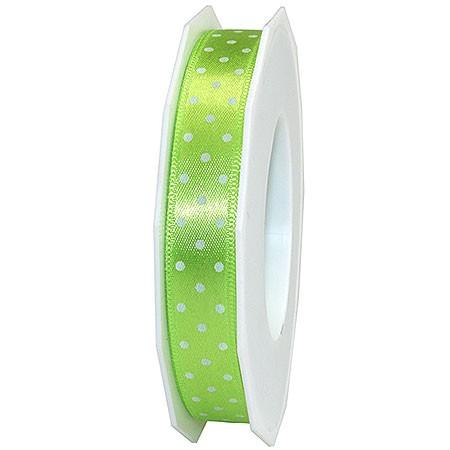 Pünktchenband, lindgrün: 15mm breit / 20m-Rolle