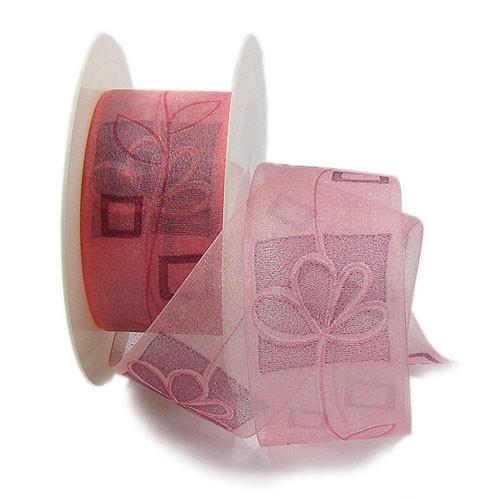 Dekorband-Stilblüte: 40mm breit / 25m-Rolle, rosa