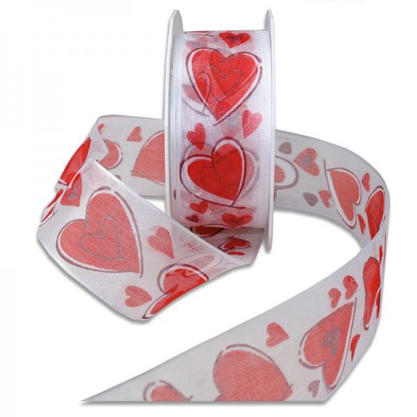 Herzband-SWEET HEART: 40mm breit / 20m-Rolle, mit Drahtkante
