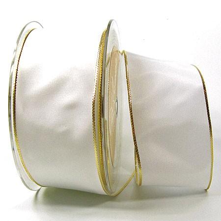 Dekoband Basic: 50mm breit / 25m, weiss-gold