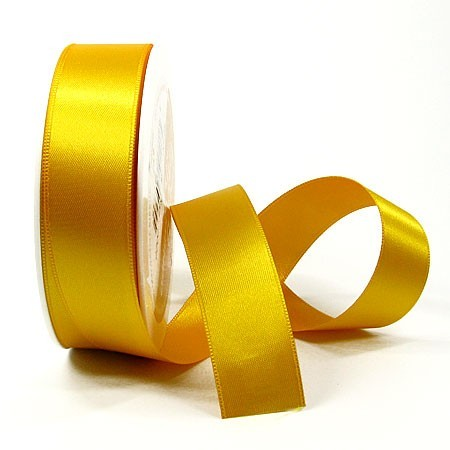 Satinband SINFINITY, gelb: 25mm breit / 25m-Rolle, mit feiner Webkante.