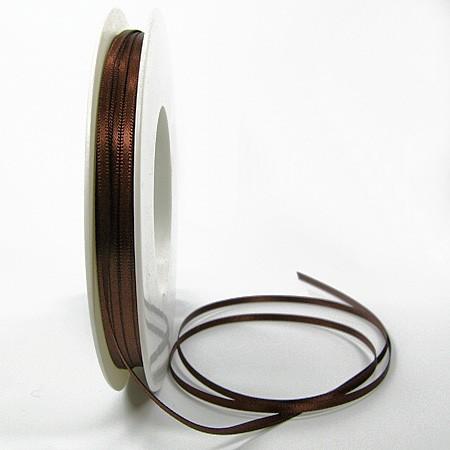Satinband-SINFINITY, kaffeebraun: 3mm breit / 50m-Rolle, mit feiner Webkante
