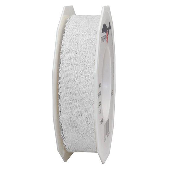 Spitzenband: 25mm breit / 25m-Rolle, weiss