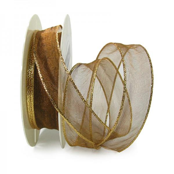 Organzaband mit LUREX-Drahtkante, 25mm breit / 25m-Rolle, braun-gold