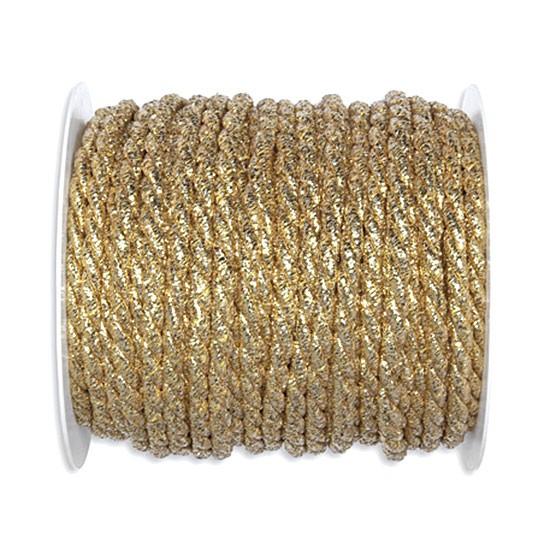 Lurex-Kordel: 6mm breit / 25m-Rolle, gold