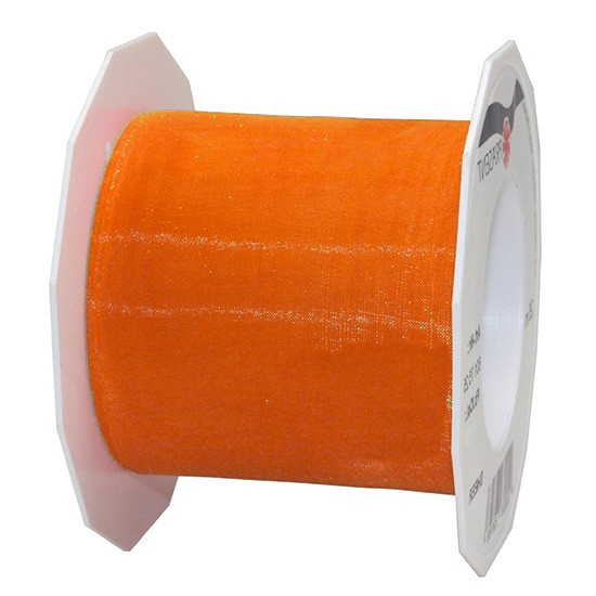 Organzaband-Sheer: 72mm breit / 25m-Rolle, orange.