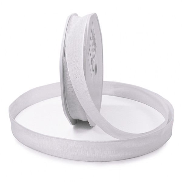 Leinenband-NATURAL, 16mm breit / 20m-Rolle, weiß.