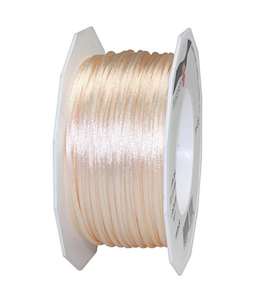 Satinkordel-RHEIN: 3 mm breit - 50-Meter-Rolle, creme