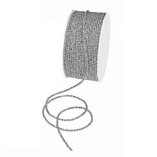 Lurex-kordel, silber: 2mm Ø / 50m-Rolle