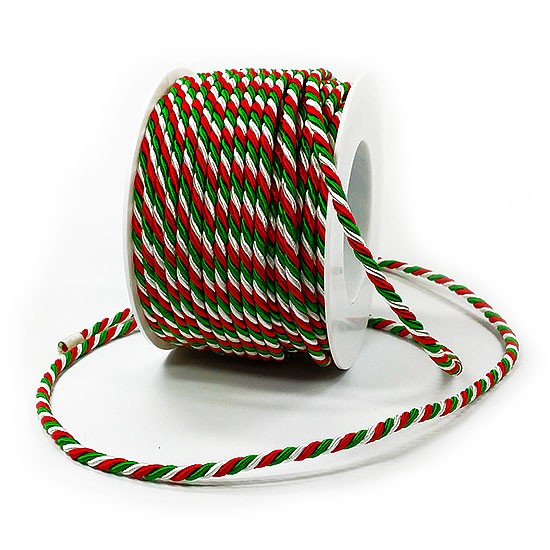 Italien-NRW-Kordel: 4mm breit / 25m-Rolle, grün-weiß-rot