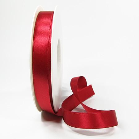 Satinband-SINFINITY, rot: 15mm breit / 25m-Rolle, mit feiner Webkante.