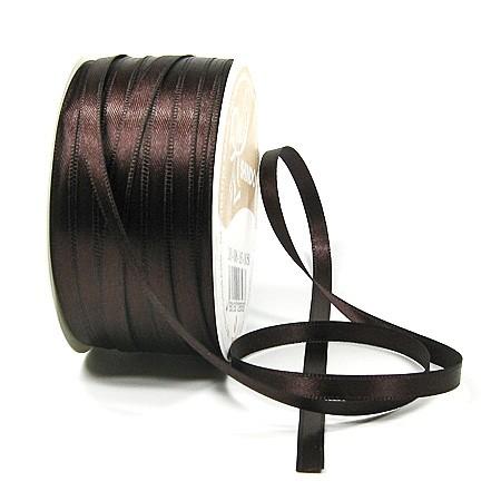 Satinband SINFINITY, dunkelbraun: 6mm breit / 50m-Rolle, mit feiner Webkante.