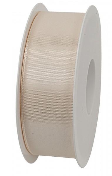 Taftband, creme: 40mm breit / 50m-Rolle, mit feiner Webkante.