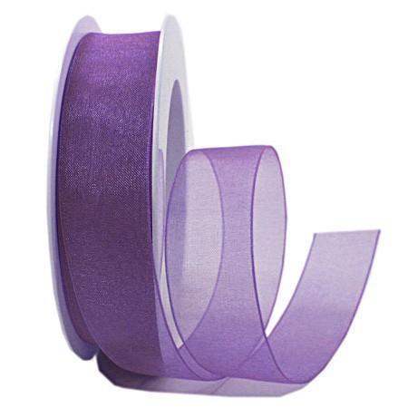 Organzaband: 25mm breit / 25m-Rolle, lila:1250025125