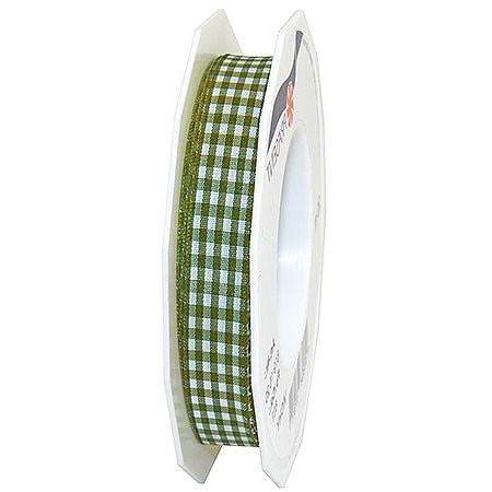 Vichy-Karoband, moosgrün-weiss: 15mm breit / 20m-Rolle