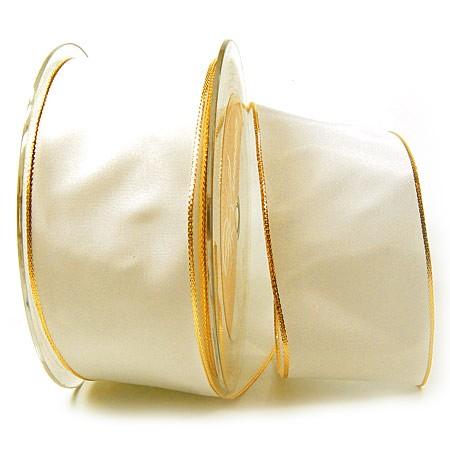 Dekoband Basic: 50mm breit / 25m, creme-gold.