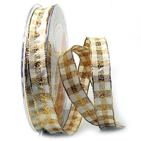 Karoband, creme-gold: 15mm breit / 25m-Rolle, mit Drahtkante