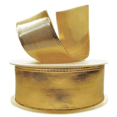 Goldband Glory: 38mm breit / 25m-Rolle, mit Drahtkante