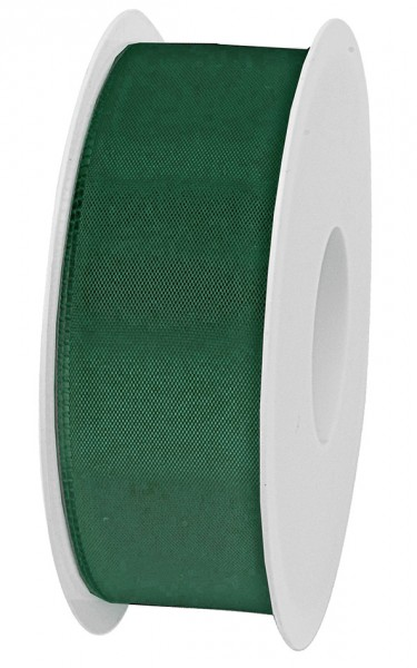 Taftband, dunkelgrün: 40mm breit / 50m-Rolle, mit feiner Webkante.