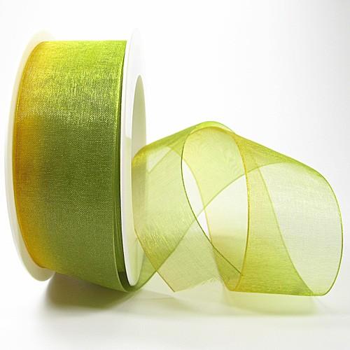 Organzaband RAINBOW, 40mm breit / 25m-Rolle: gelb-gruen